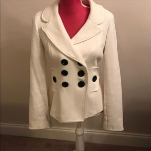 White with black button blazer jacket